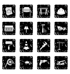 Architecture set icons grunge style vector image