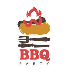 Barbecue or grill sausage logo template vector