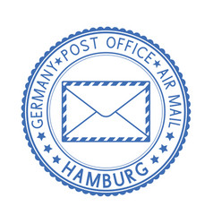 Blue postal stamp hamburg germany postmark with vector