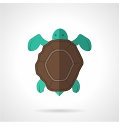 Brown turtle flat icon vector image