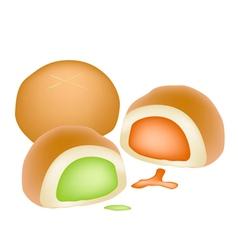 Bun bread filled with coconut cream vector
