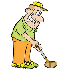 Cartoon man playing golf vector image vector image