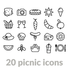 Collection of picnic line icons vector