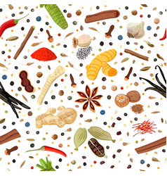 Cooking spices seamless pattern set vector