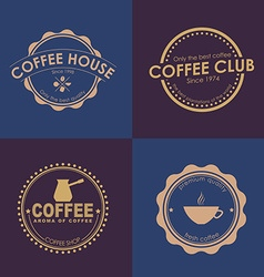 Design coffee logo on colored backgrounds vector image
