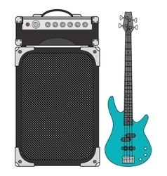Electric bass guitar and amplifier vector
