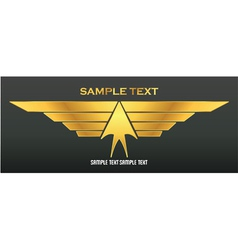 gold wings emblem vector image vector image