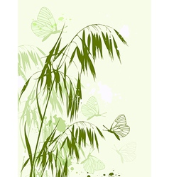 Green oat and butterflies vector