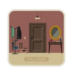 Hallway interior with door vector