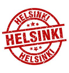 helsinki red round grunge stamp vector image