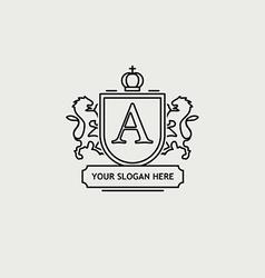 Heraldic sign black line design vector