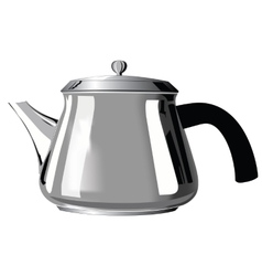 Metal teapot with black handle vector image