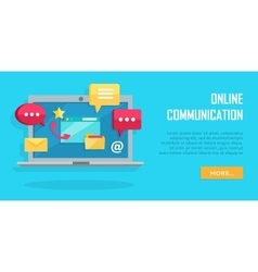 Online communication conceptual banner laptop vector