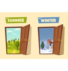 Open door Winter and summer Cartoon vector image