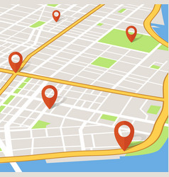 Perspective 3d city map with pin pointers vector