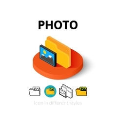 Photo icon in different style vector
