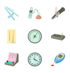 Precision instrument icons set cartoon style vector