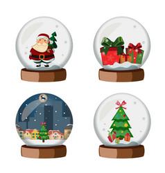 set of christmas snow globe vector image