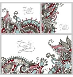 set of floral decorative background template frame vector image