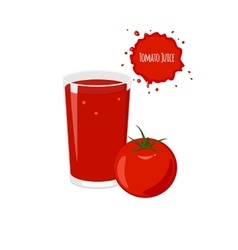 tomato juice with ripe tomato isolated vector image