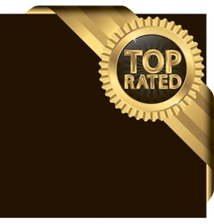 Top rated golden label with ribbons vector image