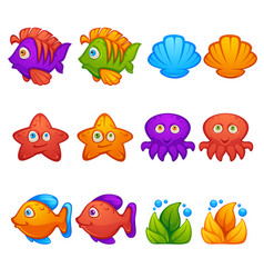 underwater world fish stars octopus bubble vector image