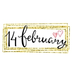 Valentines Day Card lettering 14 february vector image vector image