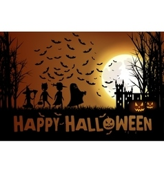 Trick or treating on halloween vector
