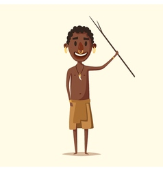 African man indigenous south american cartoon vector