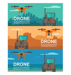 Fly drone with remote control on background city vector
