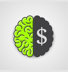 human brain with dollar sign vector image