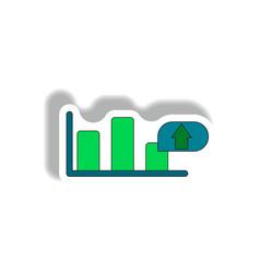 Bar graph inpaper sticker vector