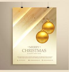 Hanging golden christmas balls decoration flyer vector