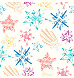 Sketched stars seamless pattern childish colorful vector