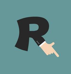 R letter businessman hand font it shows finger vector