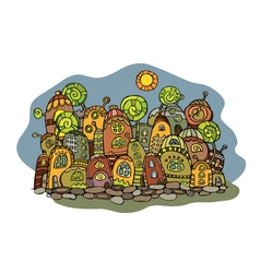 Cartoon fairy tale drawing town vector