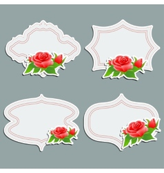 Set of vintage greeting cards with bright rose vector