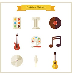 Flat school arts and music objects set vector