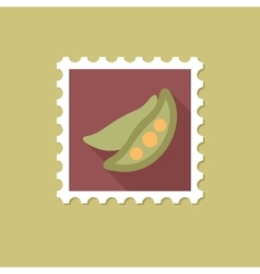 Pea flat stamp with long shadow vector