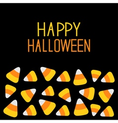 Candy corn set happy halloween card flat design vector