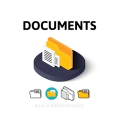 Documents icon in different style vector