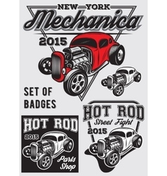set of badges with Hot Rod vector image