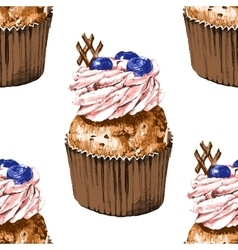 Seamless pattern with hand drawn cupcakes vector