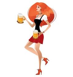 german girl serving beer on oktoberfest vector image