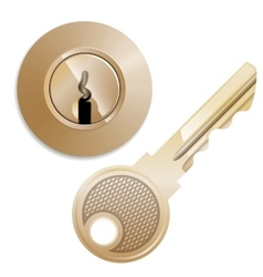 round Pin tumbler lock and key vector image
