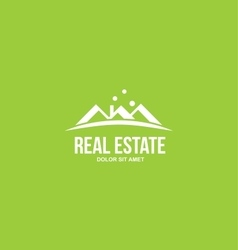 Flat real estate green house roof logo vector