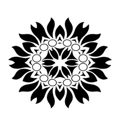 Floral ornament silhouette zentangle vector