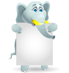 Cute elephants with blank sign vector