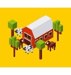 Farm cow trees horse icon isometric design vector