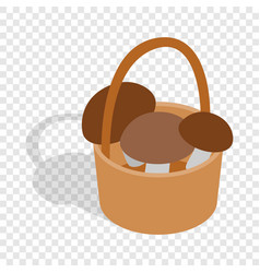 Basket with mushrooms isometric icon vector